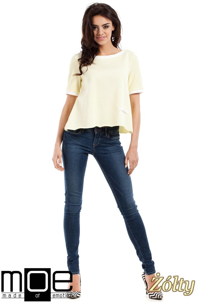 CM1557 Modna bluzka damska z zakładką na plecach - żółta