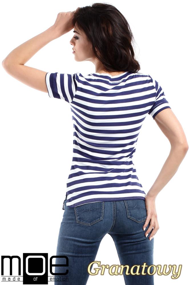 CM1558 Klasyczna koszulka damska z krótkim rękawem - granatowa