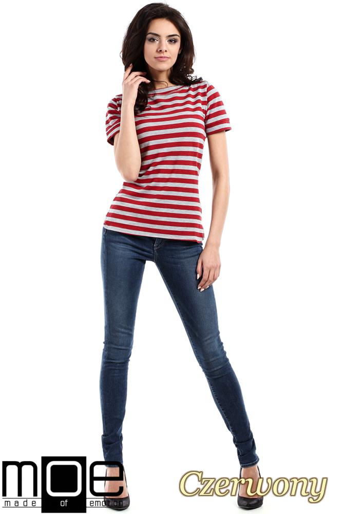 CM1558 Klasyczna koszulka damska z krótkim rękawem - czerwona