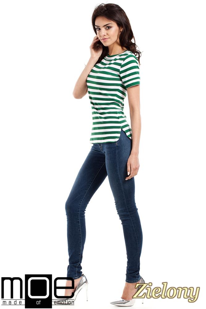 CM1558 Klasyczna koszulka damska z krótkim rękawem - zielona