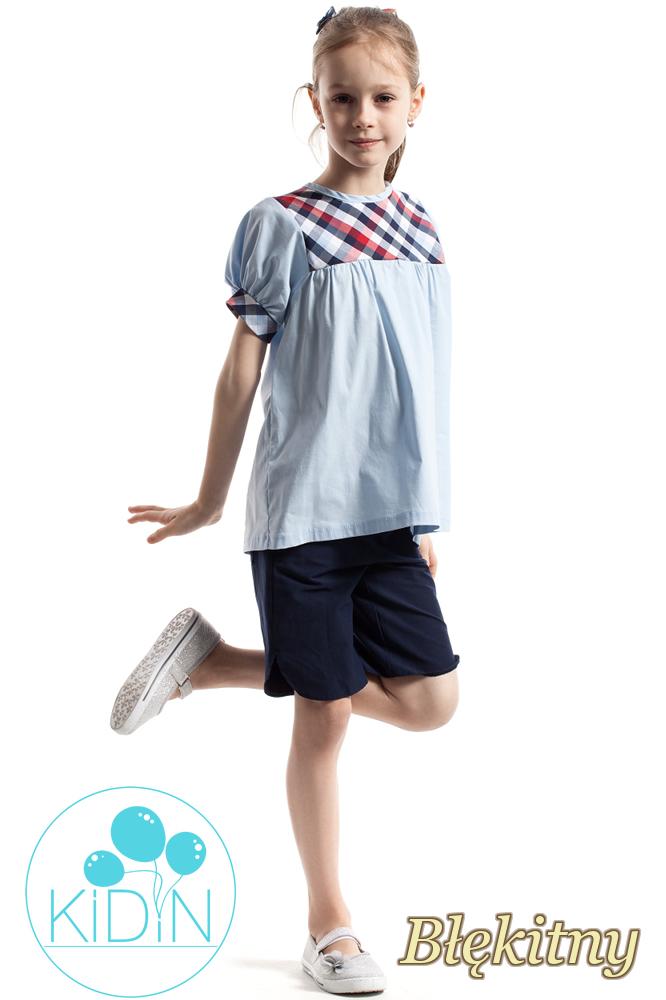 CM2261 Luźna bluzka z kratką i bufkami - błękitna