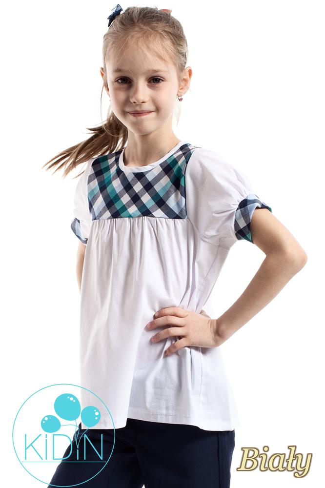 CM2261 Luźna bluzka z kratką i bufkami - biała