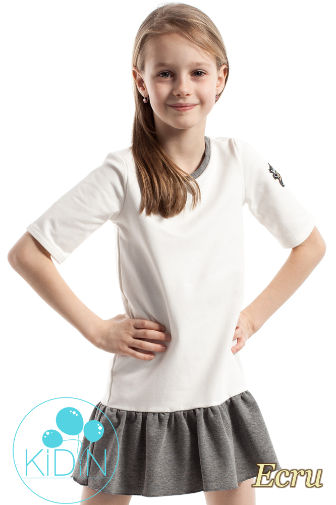 CM2262 Bawełniana sukienka mini z falbanką - ecru