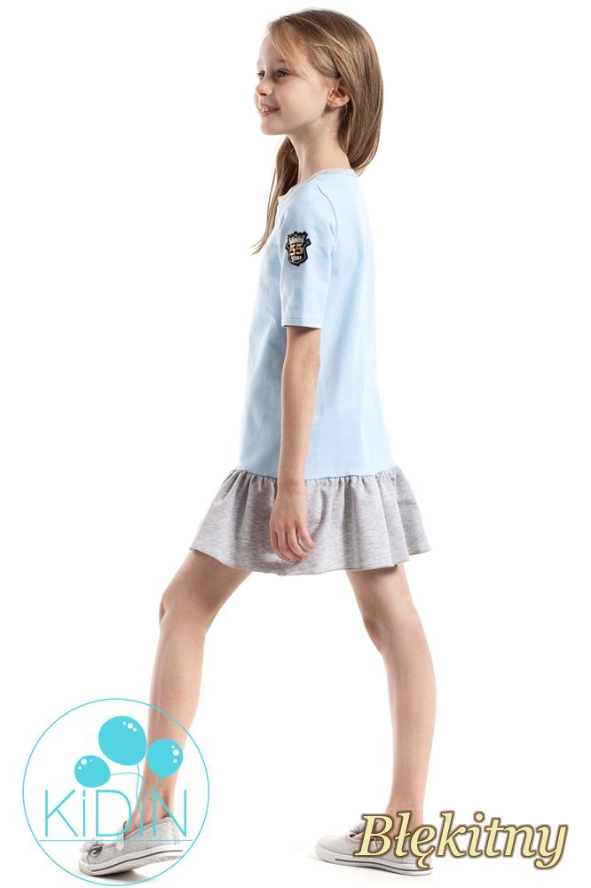 CM2262 Bawełniana sukienka mini z falbanką - błękitna
