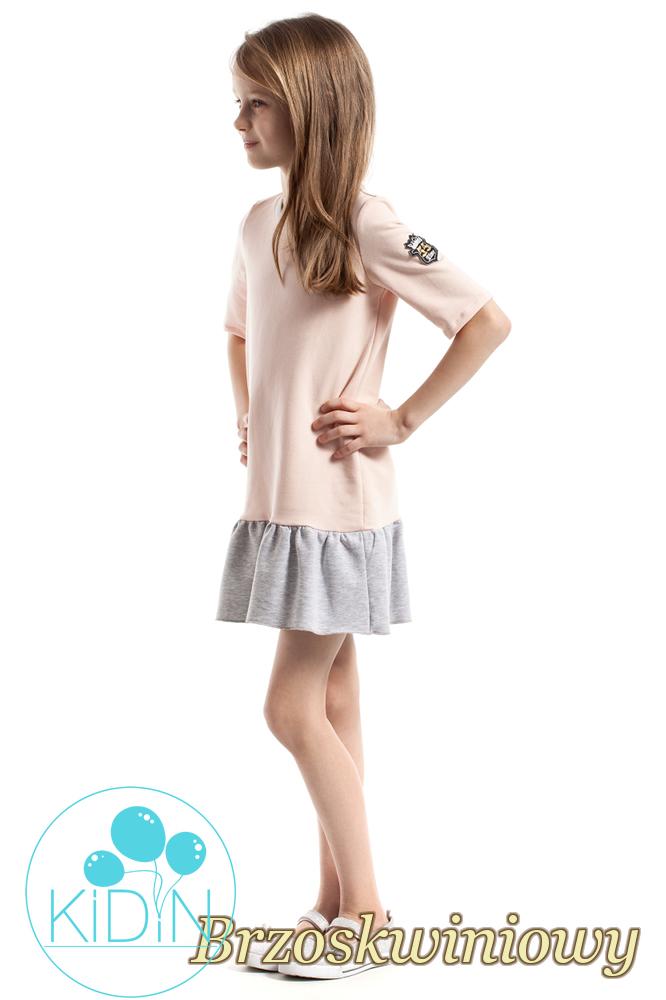 CM2262 Bawełniana sukienka mini z falbanką - brzoskwiniowa