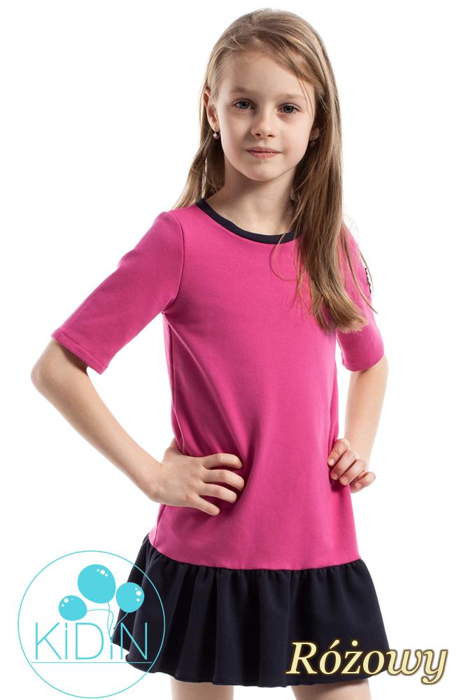 CM2262 Bawełniana sukienka mini z falbanką - różowa