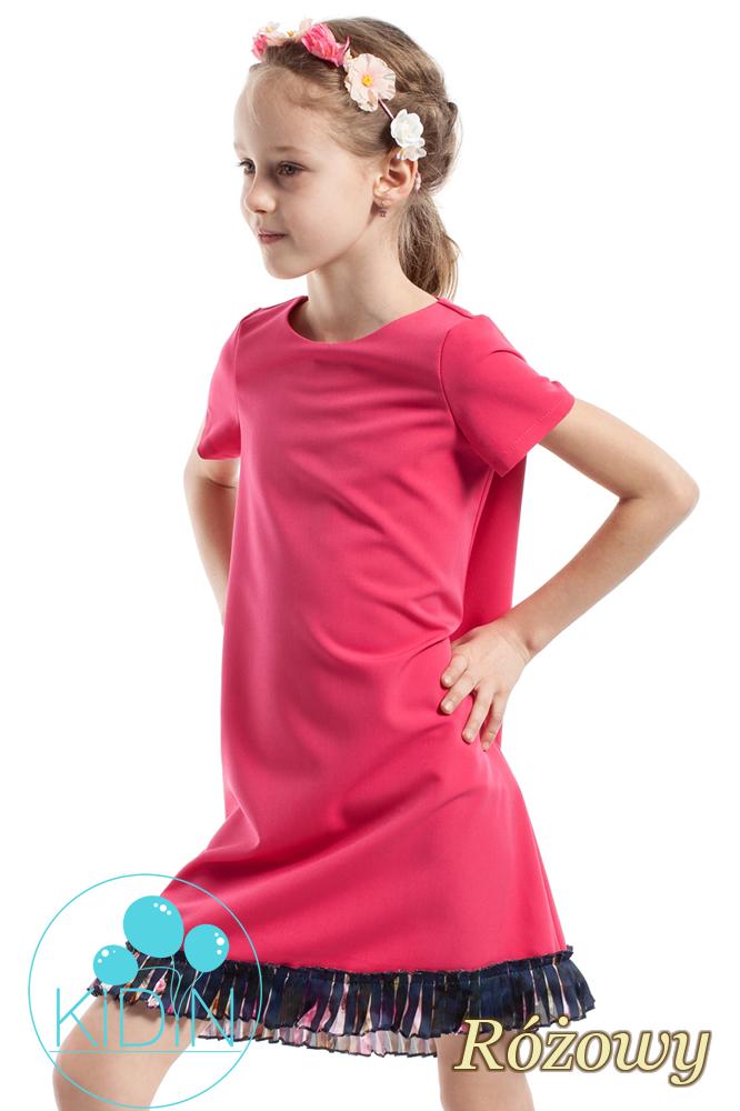 CM2263 Elegancka sukienka z plisowaną wstawką - różowa