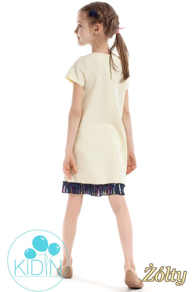 CM2263 Elegancka sukienka z plisowaną wstawką - żółta