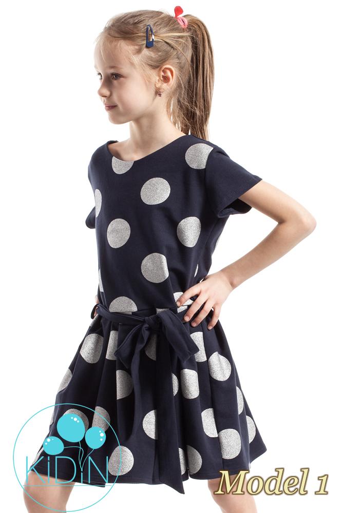 CM2265 Dziewczęca sukienka w kontrafałdy - model 1
