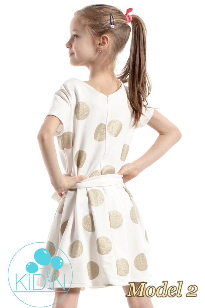 CM2265 Dziewczęca sukienka w kontrafałdy - model 2