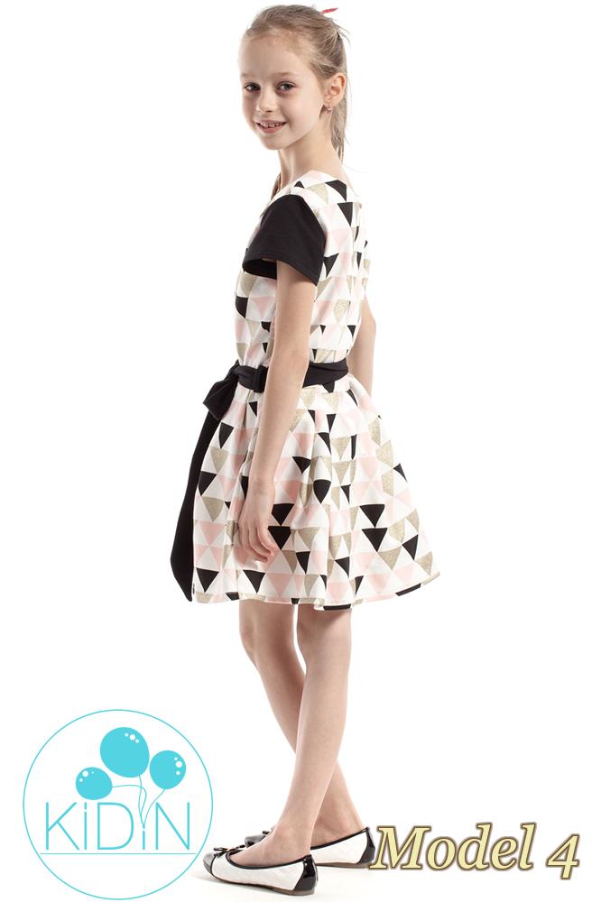 CM2265 Dziewczęca sukienka w kontrafałdy - model 4