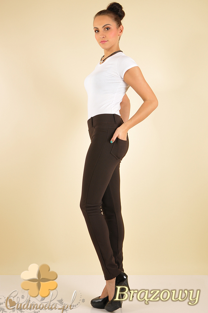 CM0172 Włoskie legginsy getry lekko połyskujące - brązowe