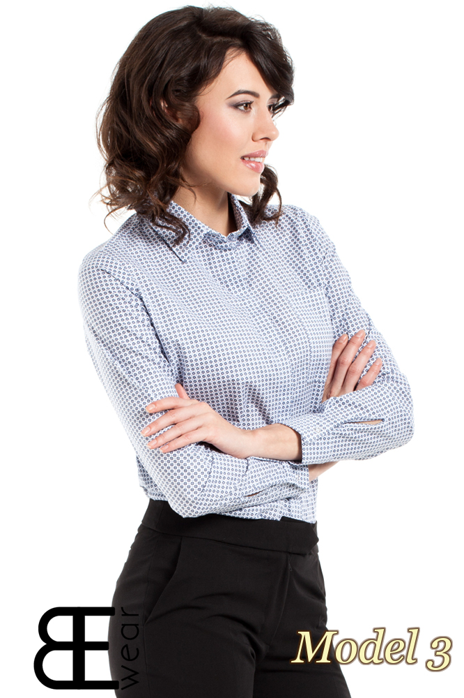 CM1631 Klasyczna zapinana koszula damska - model 3