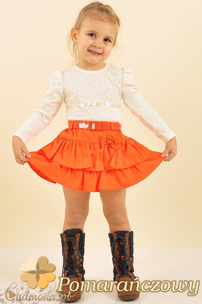 MA005 Spódniczka dziecięca z kokardką i falbanką - pomarańczowa
