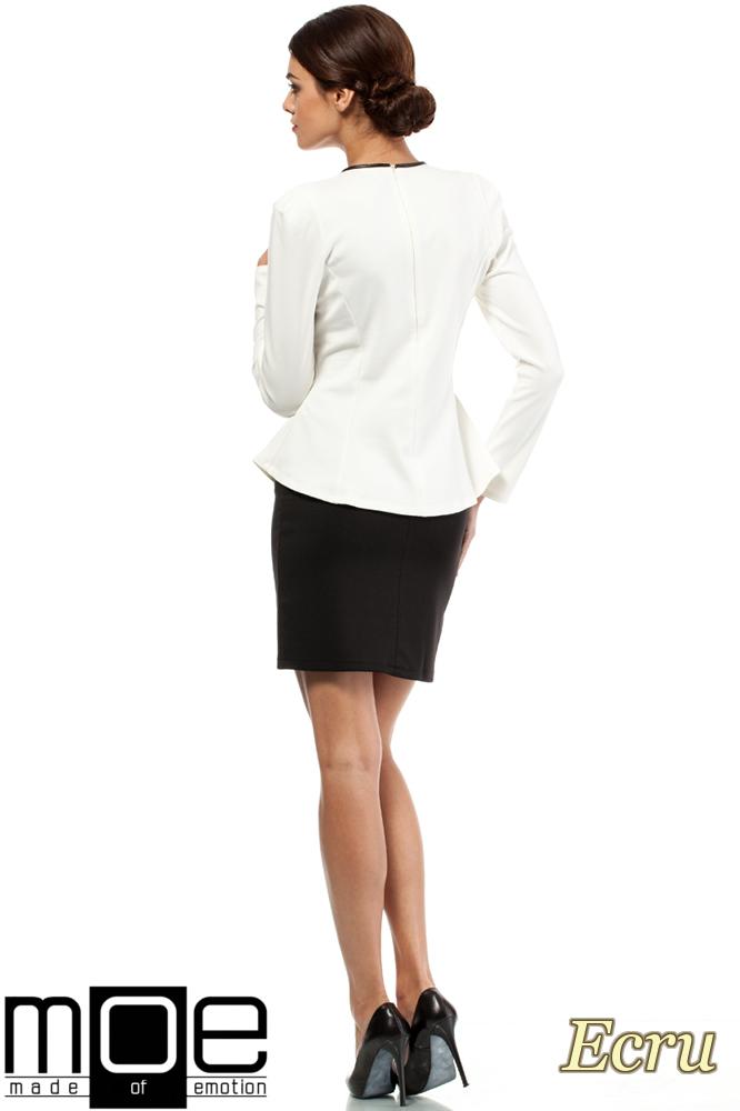 CM0204 Taliowana bluzka damska z bufkami i skórzaną lamówką - ecru