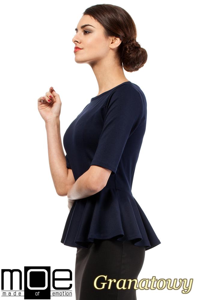 CM0206 Elegancka bluzka z baskinką - granatowa