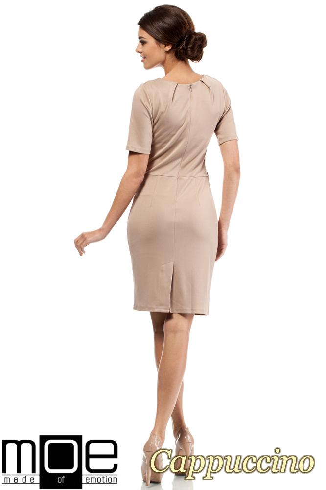 CM0219 Klasyczna elegancka sukienka ołówkowa - cappuccino