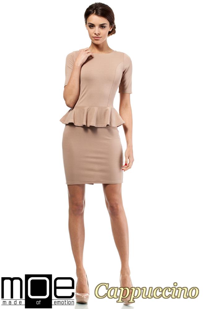CM0220 Elegancka sukienka ołówkowa z baskinką - cappuccino