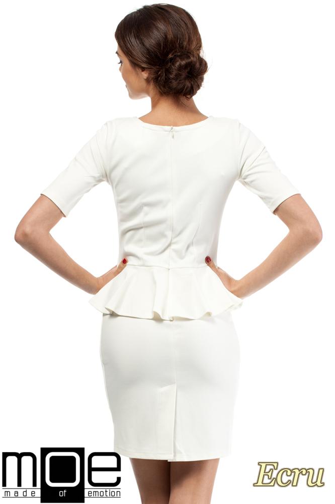 CM0220 Elegancka sukienka ołówkowa z baskinką - ecru