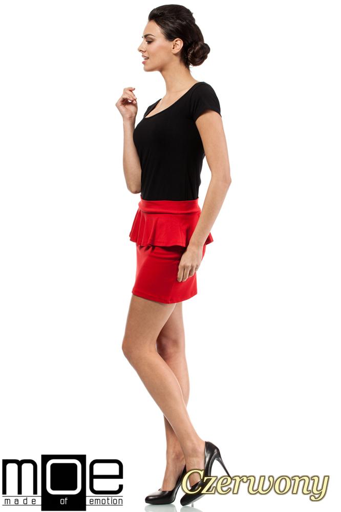CM0222 Mini spódniczka z baskinką - czerwona