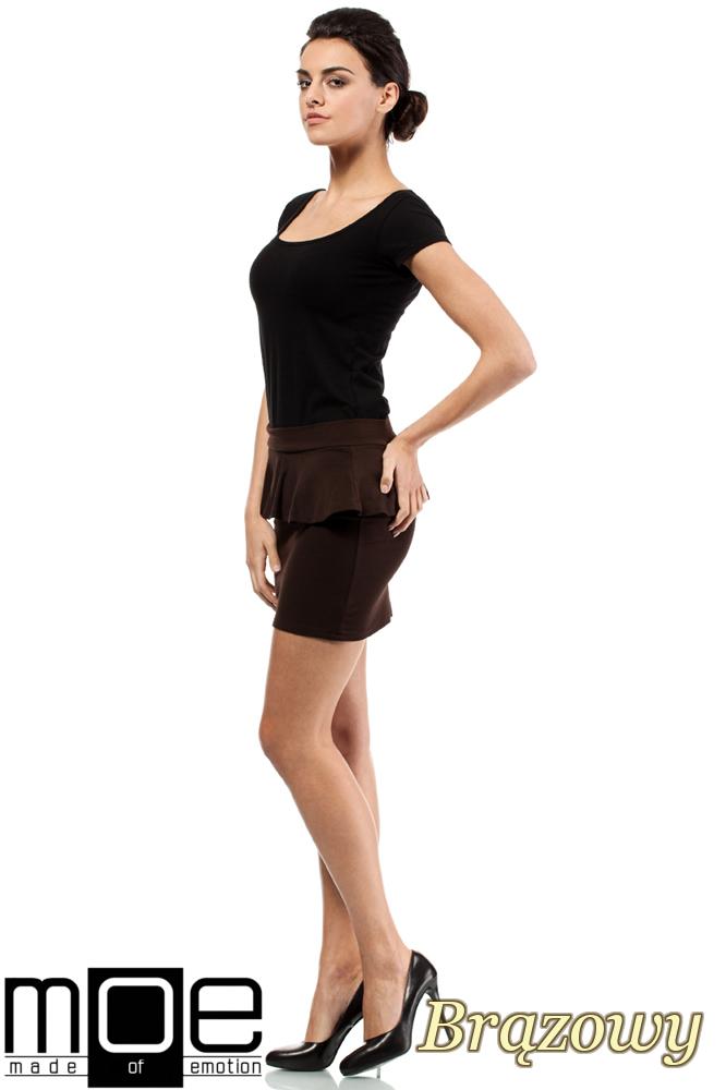 CM0222 Mini spódniczka z baskinką - brązowa