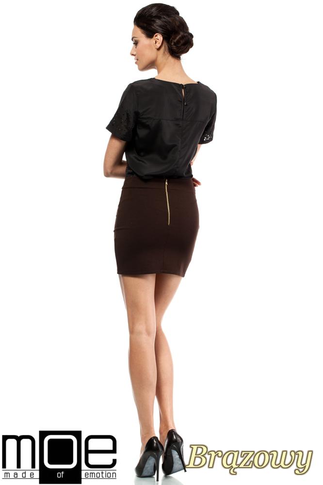 CM0223 Mini spódniczka z dzianiny złoty zamek - brązowa