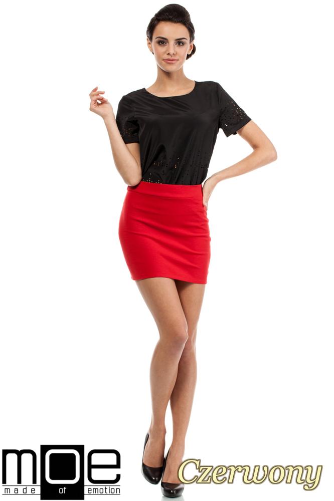 CM0223 Mini spódniczka z dzianiny złoty zamek - czerwona