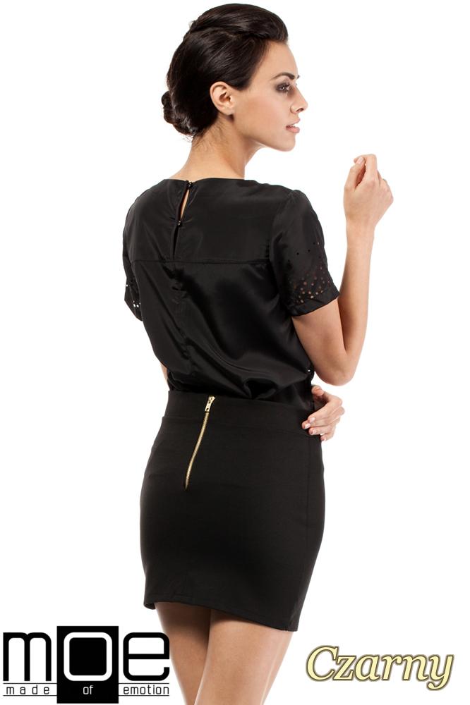 CM0223 Mini spódniczka z dzianiny złoty zamek - czarna