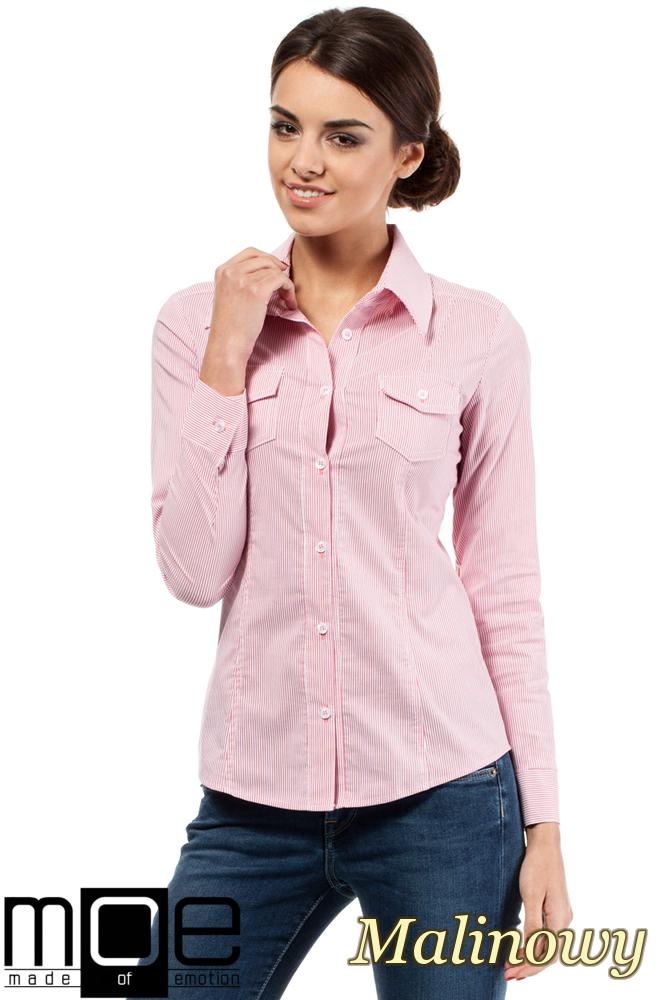 CM0265 Elegancka klasyczna taliowana koszula - malinowa