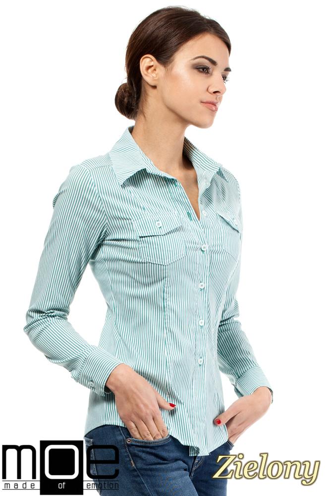 CM0265 Elegancka klasyczna taliowana koszula - zielona