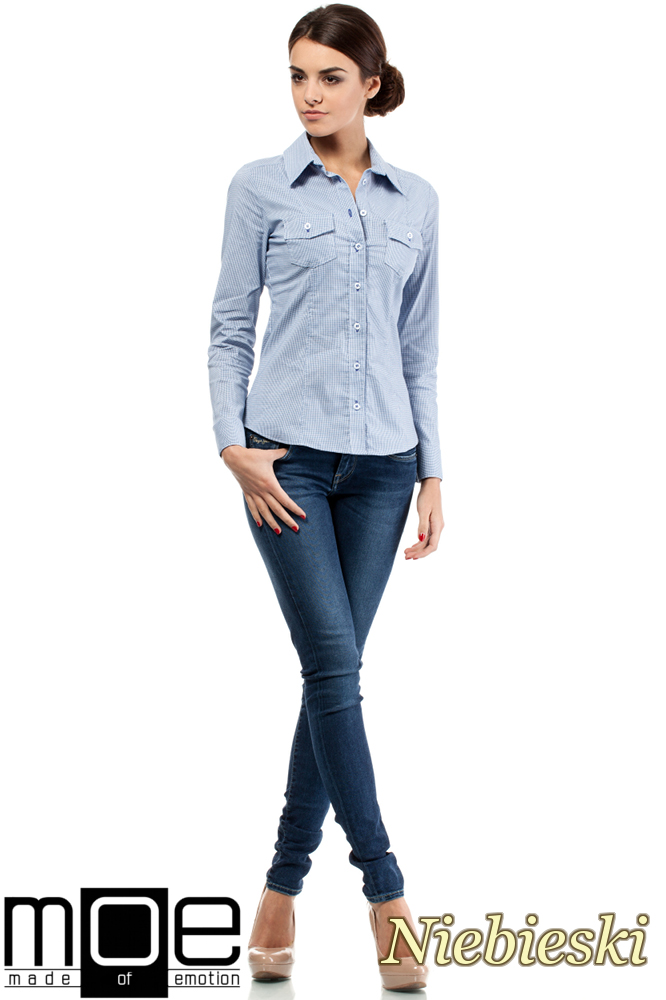 CM0265 Elegancka klasyczna taliowana koszula - niebieska