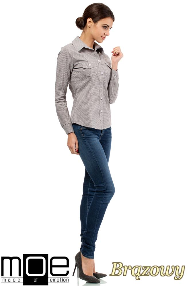 CM0265 Elegancka klasyczna taliowana koszula - brązowa