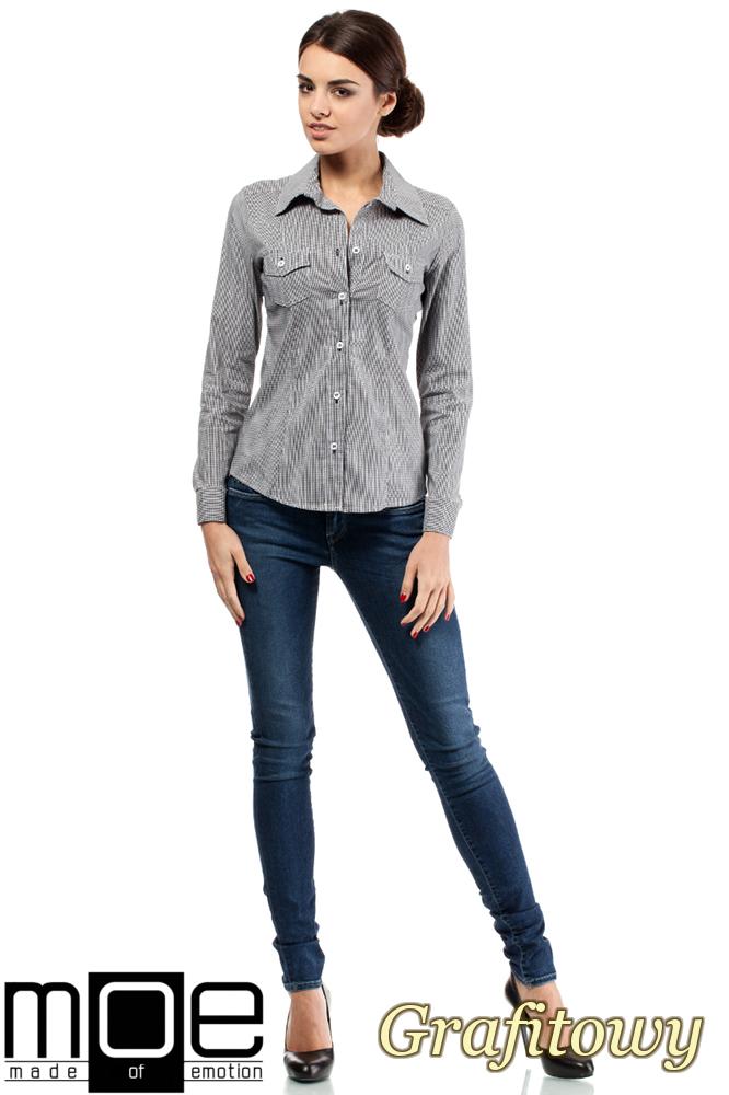 CM0265 Elegancka klasyczna taliowana koszula - grafitowa