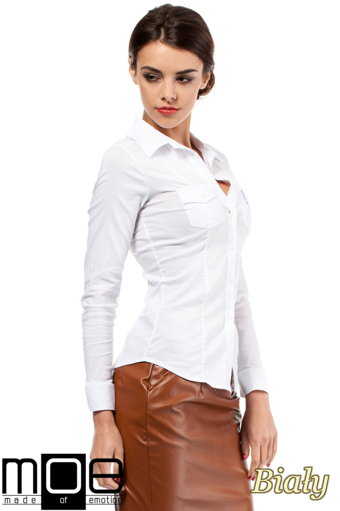 CM0270 Klasyczna taliowana gładka koszula - biała