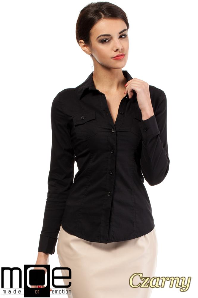 CM0270 Klasyczna taliowana gładka koszula - czarna
