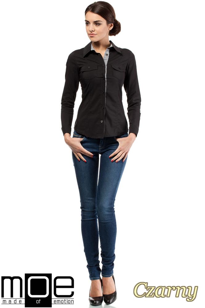 CM0272 Klasyczna taliowana koszula ze wstawką - czarna