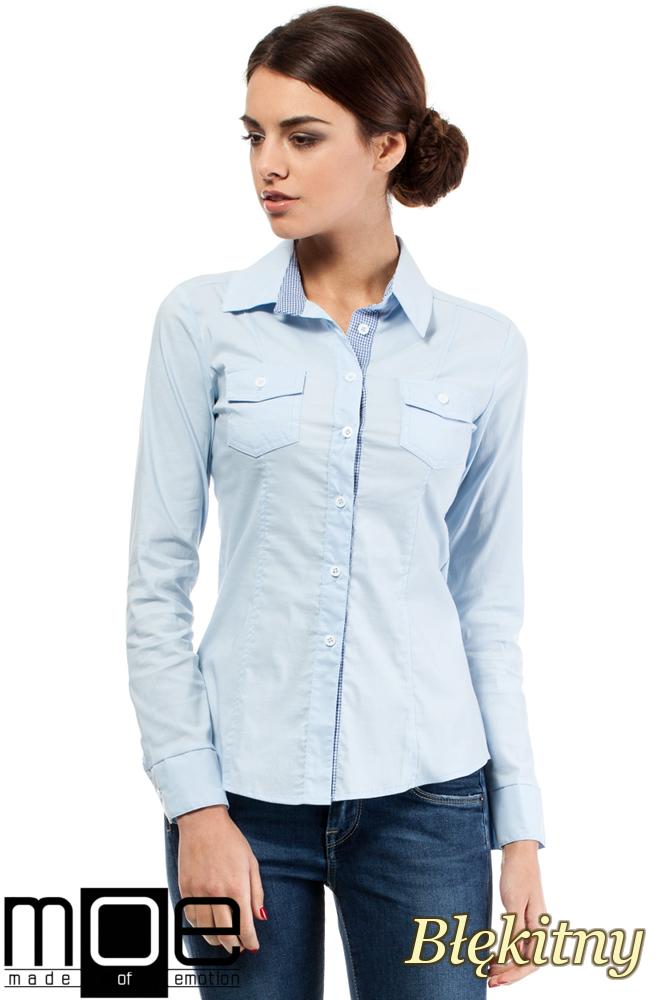 CM0272 Klasyczna taliowana koszula ze wstawką - błękitna