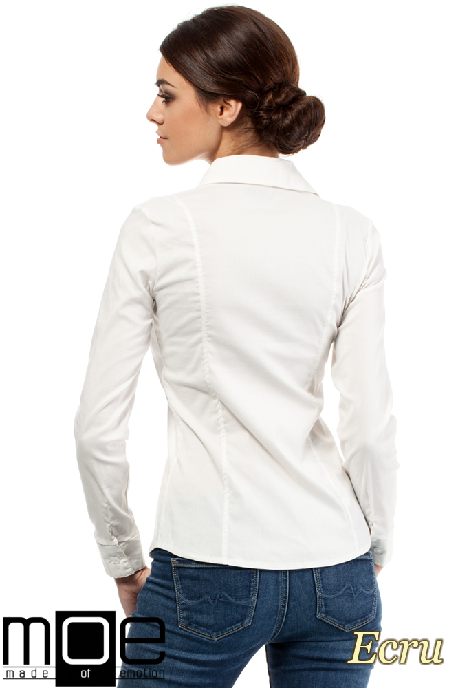 CM0272 Klasyczna taliowana koszula ze wstawką - ecru