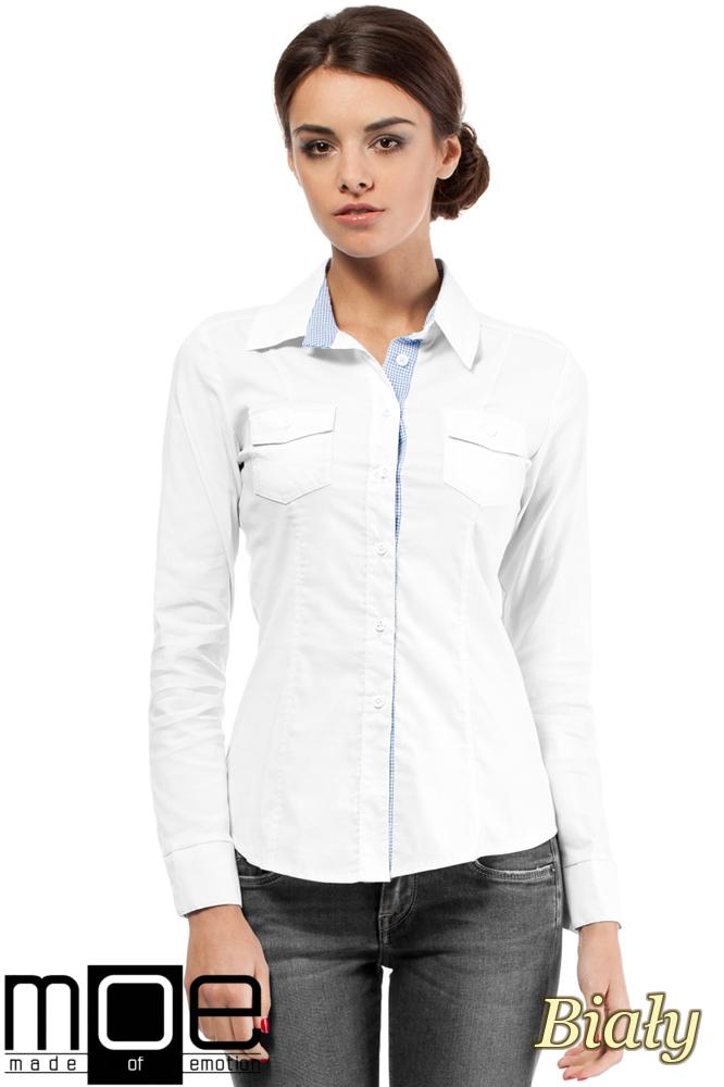 CM0272 Klasyczna taliowana koszula ze wstawką - biała