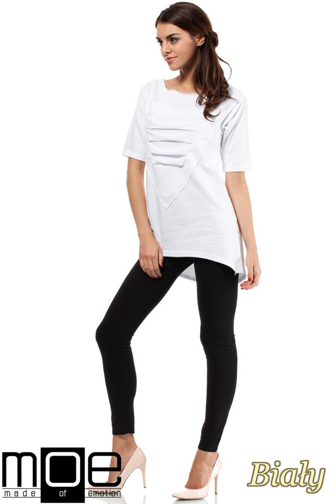 CM0274 Dresowa bluza tunika serce - biała