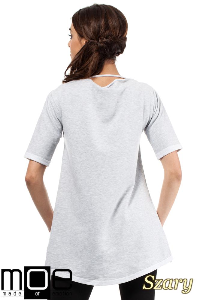 CM0274 Dresowa bluza tunika serce - szara