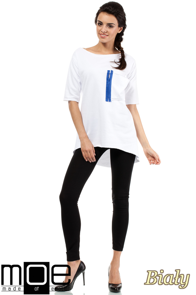 CM0275 Sportowa bluza tunika zamek - biała