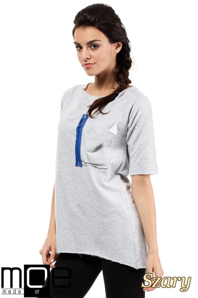 CM0275 Sportowa bluza tunika zamek - szara