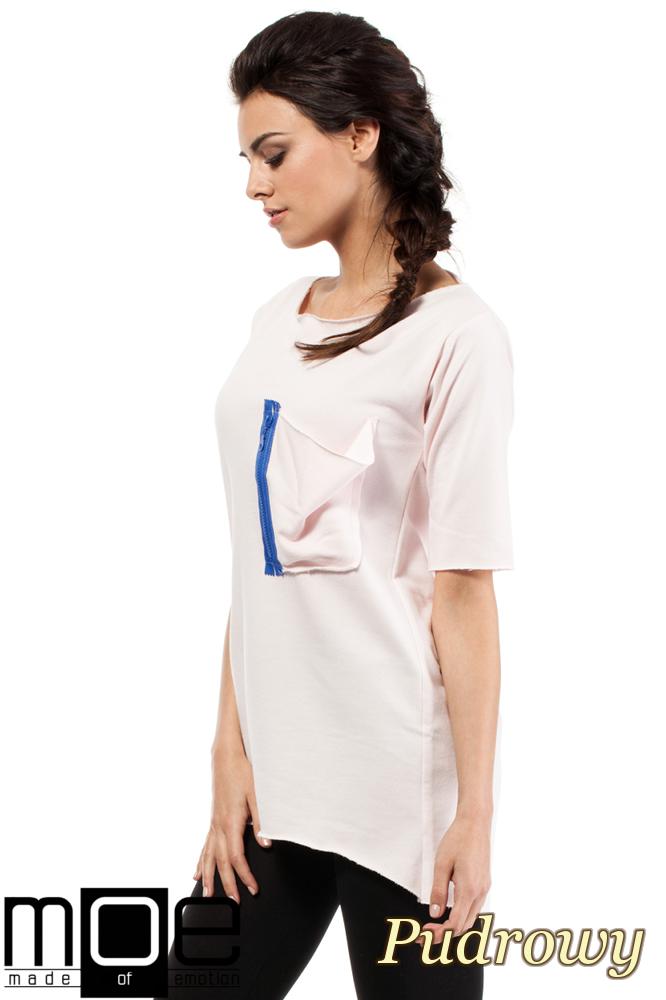 CM0275 Sportowa bluza tunika zamek - pudrowa