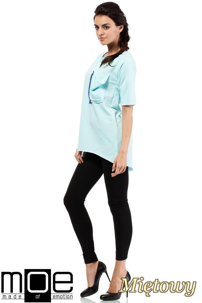 CM0275 Sportowa bluza tunika zamek - miętowa