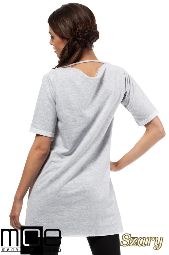 CM0279 Elegancka bluza tunika kieszeń - szara
