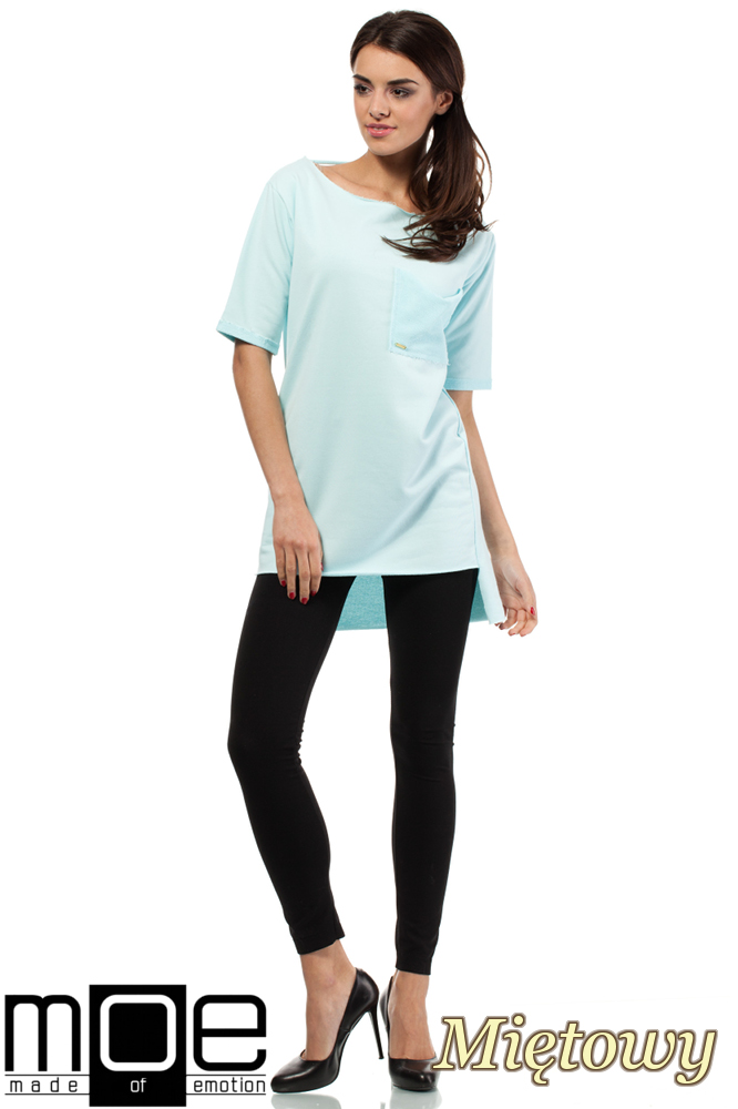 CM0279 Elegancka bluza tunika kieszeń - miętowa