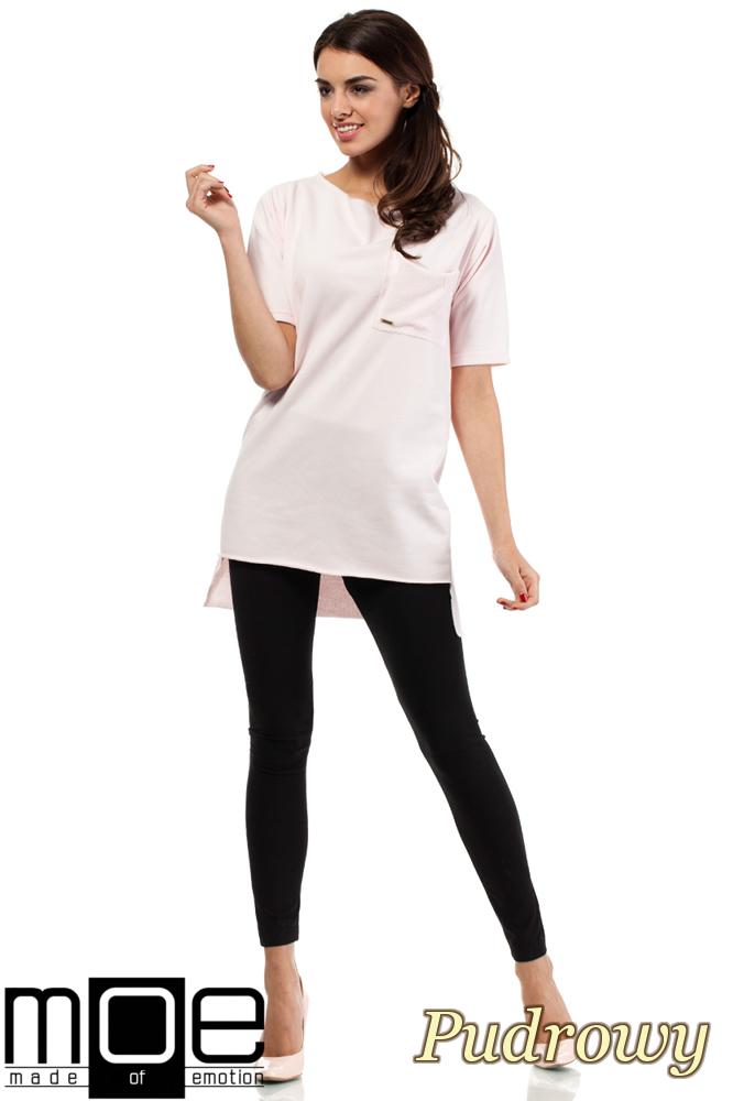 CM0279 Elegancka bluza tunika kieszeń - pudrowa