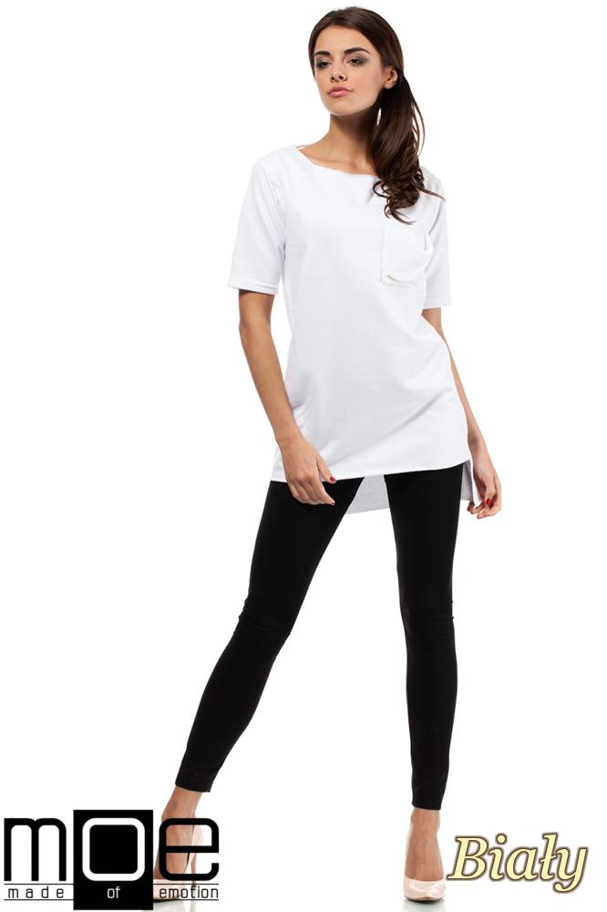 CM0279 Elegancka bluza tunika kieszeń - biała