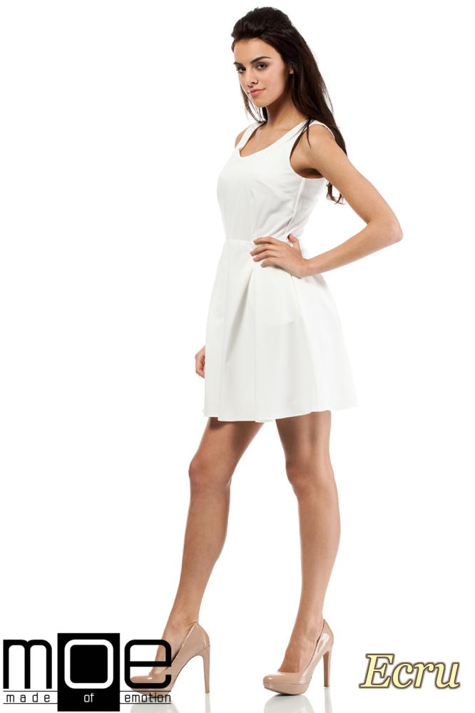 CM0280 Sukienka kontrafałda z dekoltem - ecru